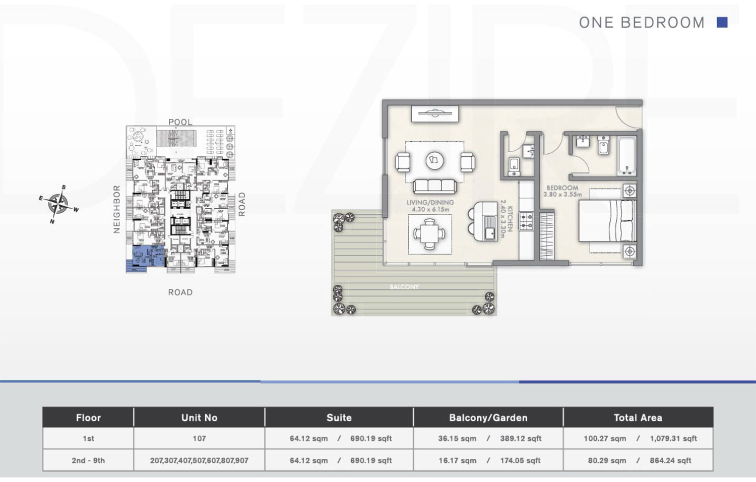1 Bedroom Floor Plan 4