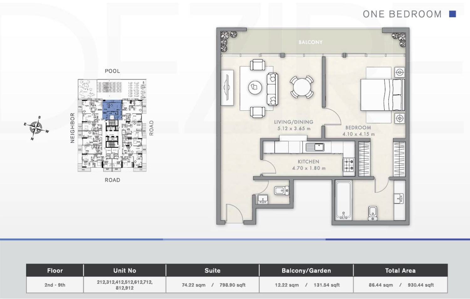 1 Bedroom Floor Plan 6